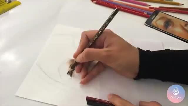 نقاشی چهره با تکنیک مداد رنگی - Realistic colored pencil portrait