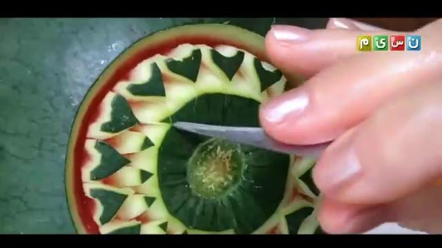 آموزش یک نوع طرح تزیینی زیبا، برای میوه هندوانه