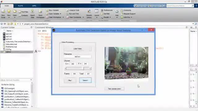 پروژه تشخیص آتش با مشخصات رنگی ویدیو و شبکه عصبی BP در MATLAB
