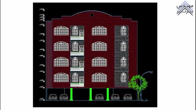 طراحی تاسیسات مکانیکی ساختمان 4 طبقه (پلان آب رسانی) با AutoCAD