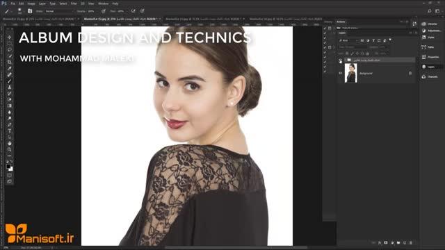 آموزش طراحی آلبوم و تکنیک پوست طلایی ویژه عکس عروس و پرتره