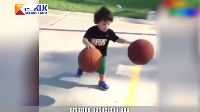 حرکات دیدنی و شگفت انگیز پسربچه بسکتبالیست با توپ