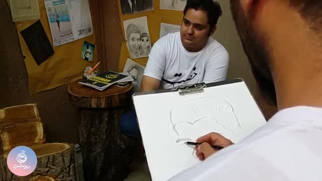 کاریکاتور چهره از مدل زنده !!  - caricature