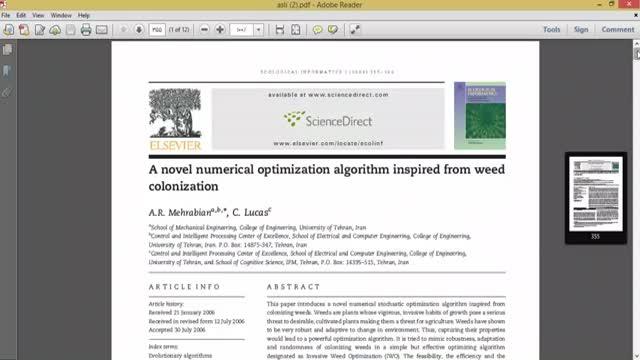 فیلم الگوریتم بهینه سازی کلونی علف های هرز