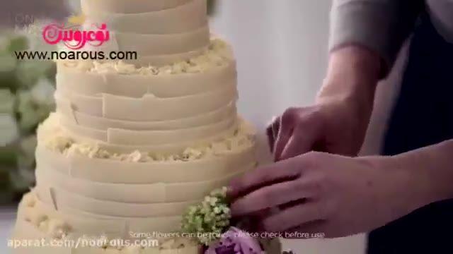 کیک عروسی با تزیین گل