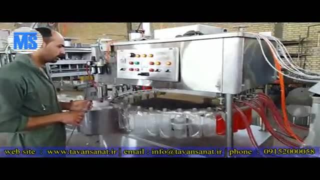 دستگاه پرکن و درب بند بطری مایع ظرفشویی ساخت ماشین سازی توان صنعت