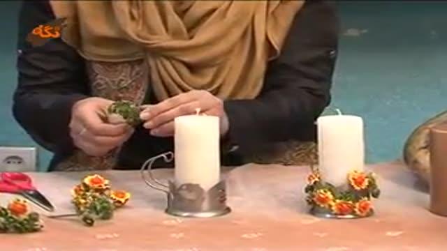 تزیین شمع با گل