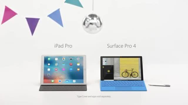 تبلیغ مایکروسافت برای سرفیس پرو 4 در رقابت با آیپد پرو اپل