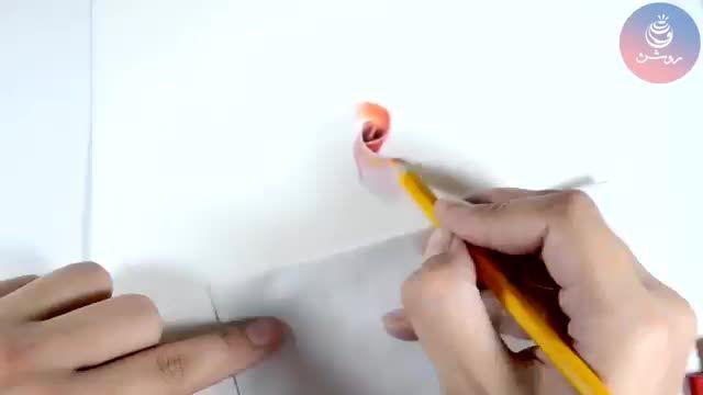 نقاشی مداد رنگی گل رز (بخشی از دوره مداد رنگی 1)