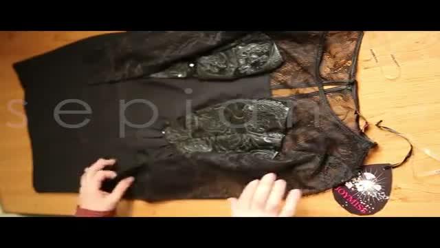 خرید اینترنتی لباس مجلسی مشکی زنانه تور