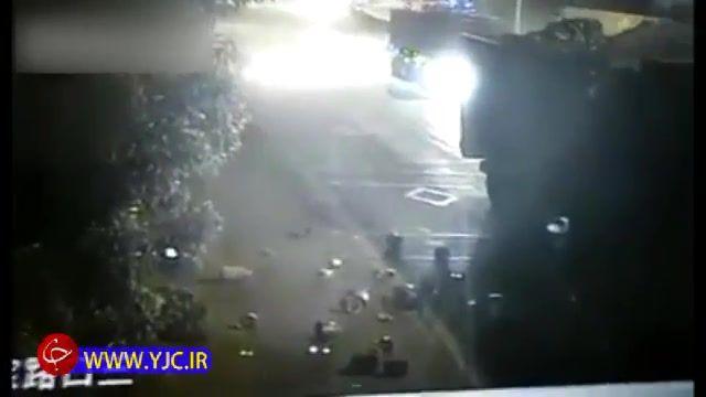 تصادف دو کامیون به دلیل رانندگی در شب و خواب آلودگی راننده
