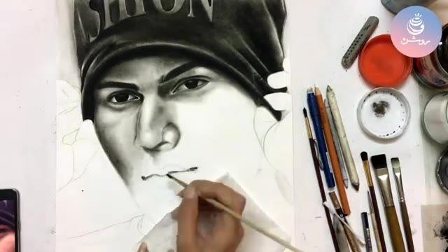 سیاه قلم چهره با پودر زغال - charcoal powder drawing