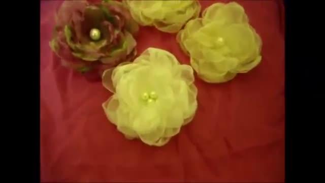 آموزش گل و گیاه Organza، DIY، چگونه، پارچه گل