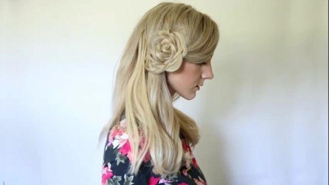 کلیپ آموزش بافت مو به شکل گل + آرایش مو