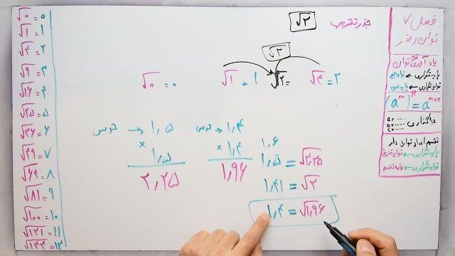 آموزش ریاضی پایه هشتم - فصل هفتم- بخش پنجم -جذر تقریبی
