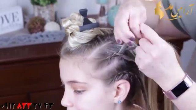 کلیپ آموزش شینیون مو دخترانه با بافت + مدل مو باز
