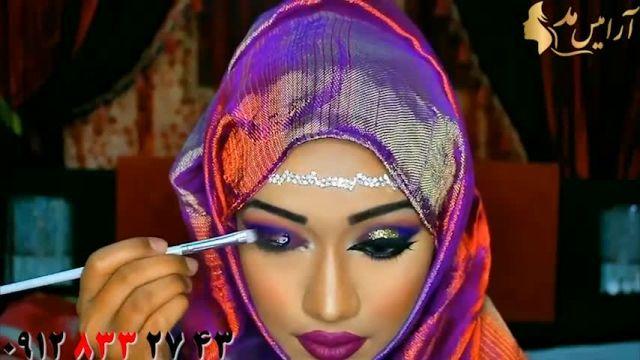 فیلم میکاپ صورت متناسب با رنگ روسری + آرایش چشم شاین
