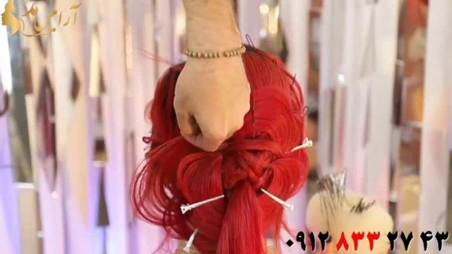 فیلم آموزش شینیون مو رنگ شرابی مدل گل