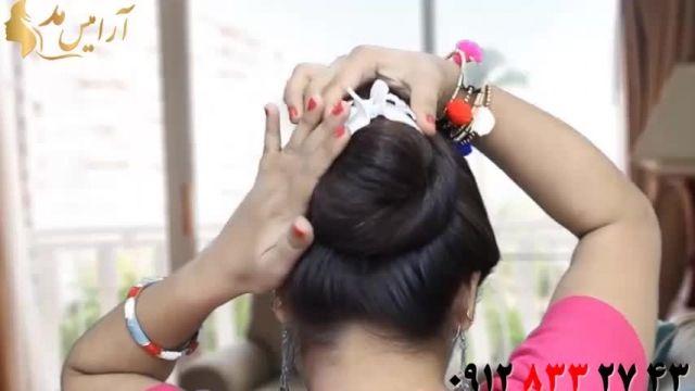 فیلم آموزش 4 مدل خودآرایی و آرایش مو با کلیپس + شینیون مو ساده